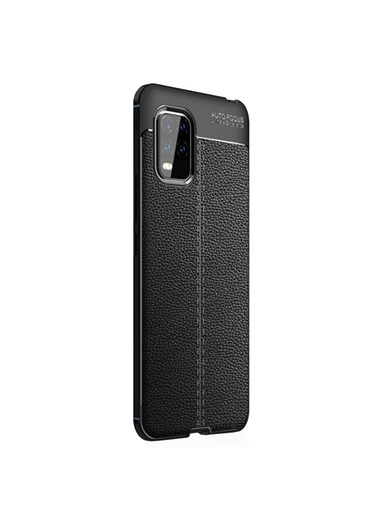 Microsonic Xiaomi Mi 10 Lite Zoom Kılıf Deri Dokulu Silikon Siyah